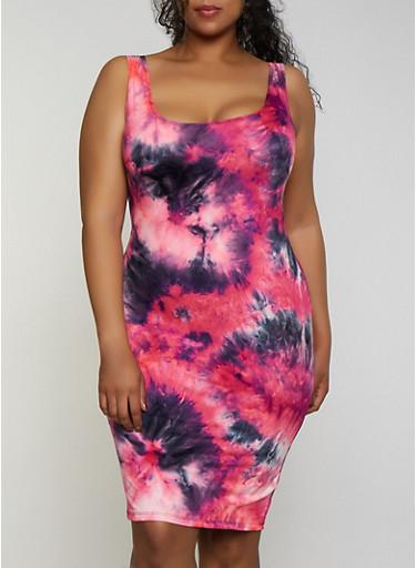 Plus Size Soft Knit Midi Tie Dye Tank Dress,NEON PINK,large
