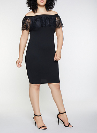 Plus Size Off the Shoulder Lace Ruffle Dress,BLACK,large
