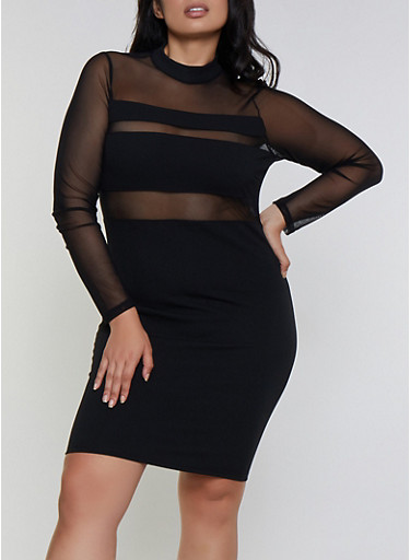 Plus Size Mesh Detail Bodycon Dress,BLACK,large