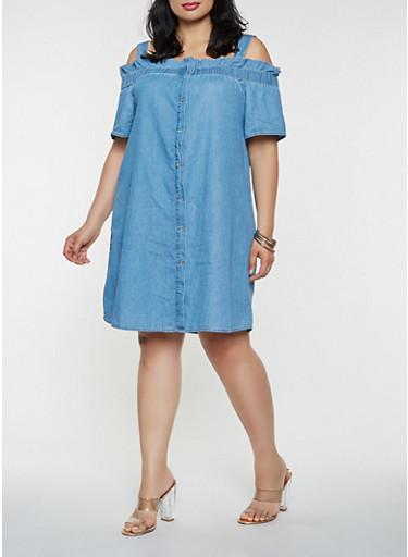 Plus Size Off the Shoulder Chambray Dress,MEDIUM WASH,large