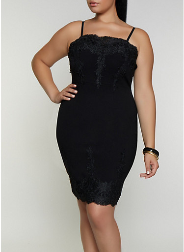 Plus Size Crochet Detail Bodycon Dress,BLACK,large