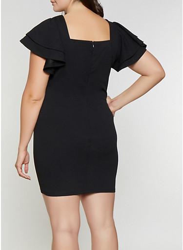 Plus Size Tiered Sleeve Bodycon Dress Rainbow