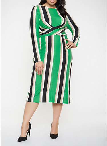Plus Size Twisted Tie Back Dress,GREEN,large