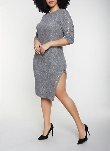 Plus Size Side Slit Bodycon Dress,HEATHER,large