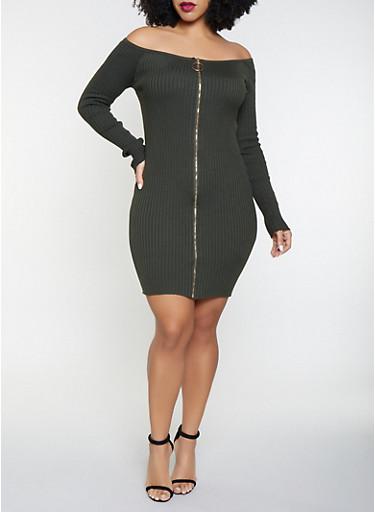 Plus Size Off the Shoulder Sweater Dress,OLIVE,large