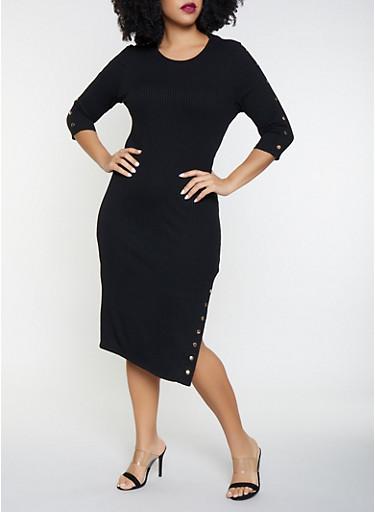 Plus Size Studded Rib Knit Sweater Dress,BLACK,large