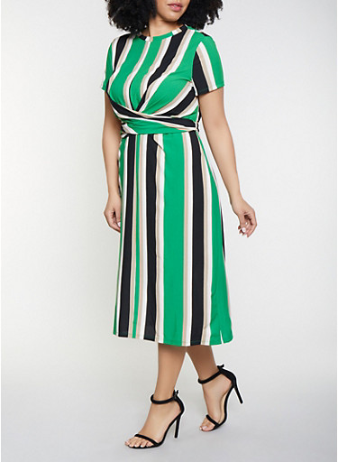 Plus Size Twist Front Striped Dress,GREEN,large