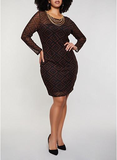 Plus Size Geometric Mesh Bodycon Dress