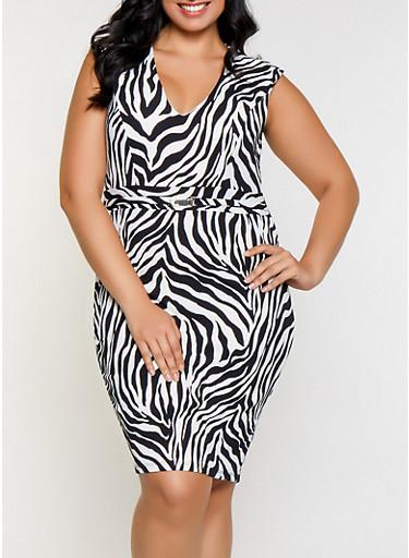 Plus Size Zebra Print Bodycon Dress,BLACK/WHITE,large