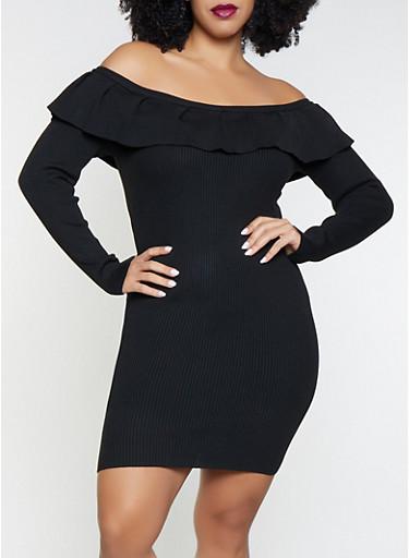 Plus Size Ruffled Sweater Dress,BLACK,large