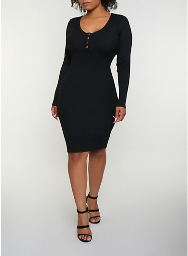 Plus Size Scoop Neck Sweater Dress,BLACK,large