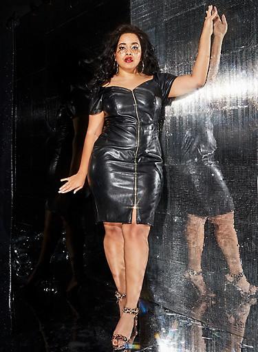 Plus Size Off the Shoulder Faux Leather Dress