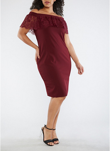 Plus Size Crepe Knit Off the Shoulder Dress with Lace Overlay,BURGUNDY,large