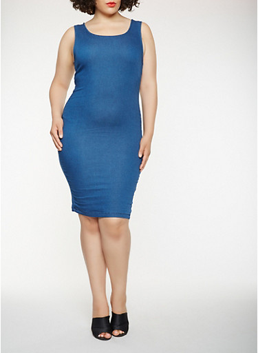 Plus Size Midi Tank Denim Dress Rainbow