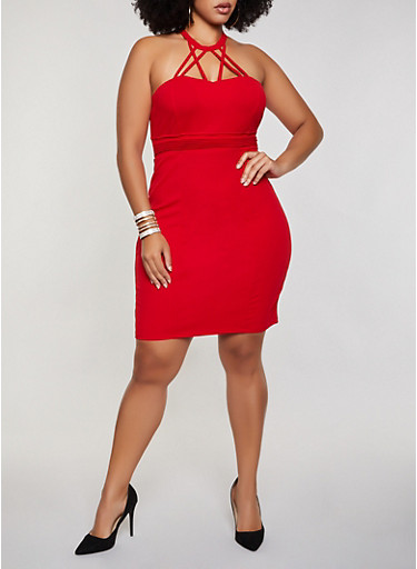 Plus Size Pleated Caged Bodycon Dress