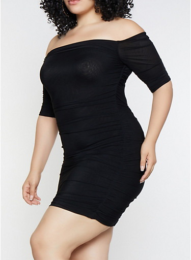 Plus Size Off the Shoulder Mesh Dress,BLACK,large