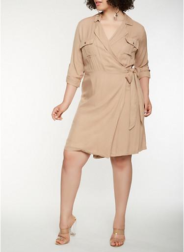 Plus Size Long Sleeve Wrap Shirt Dress,KHAKI,large