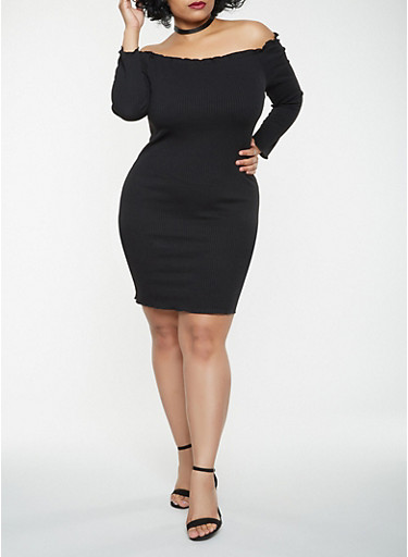 Plus Size Ribbed Knit Off the Shoulder Dress,BLACK,large
