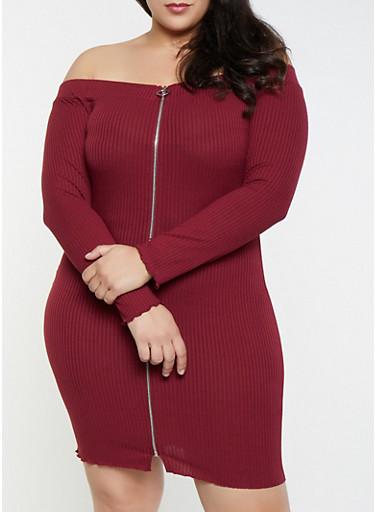 Plus Size Zip Front Off the Shoulder Dress,WINE,large