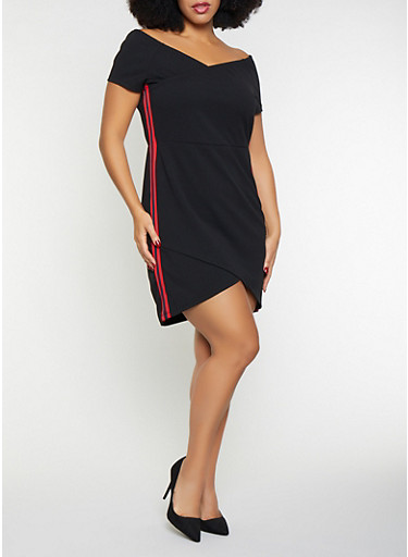 Plus Size Side Stripe Off the Shoulder Dress,BLACK,large