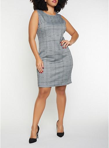 Plus Size Plaid Tank Dress,BLACK/WHITE,large