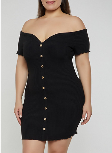 Plus Size Off the Shoulder Button Front Dress