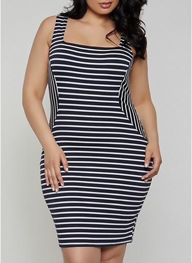 Plus Size Striped Square Neck Bodycon Dress,NAVY,large