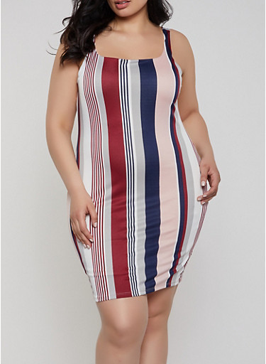 19f664baa1b1d Plus Size Vertical Stripe Tank Dress