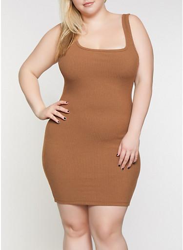 Plus Size Ribbed Tank Dress,BROWN,large