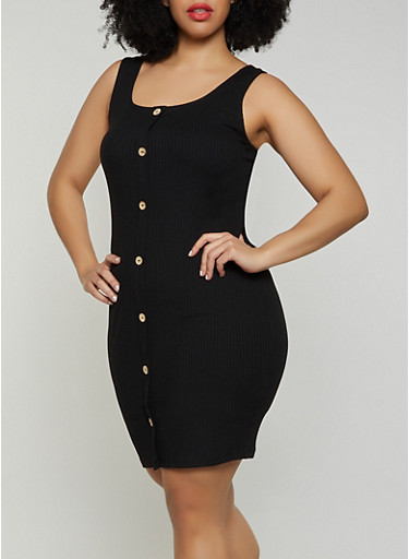 Plus Size Faux Button Tank Dress,BLACK,large