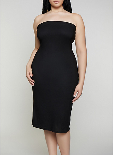 Plus Size Solid Midi Tube Dress