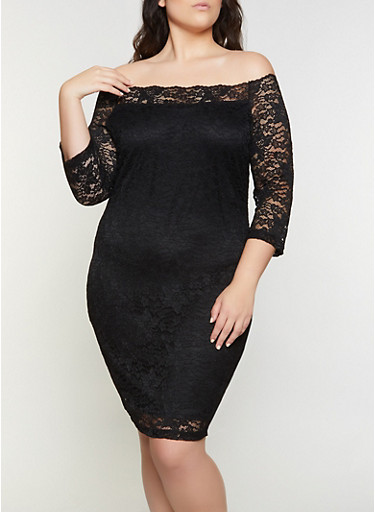 Plus Size Lace Off the Shoulder Dress,BLACK,large