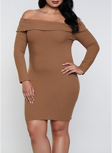 Plus Size Ribbed Off the Shoulder Bodycon Dress,CAMEL,large