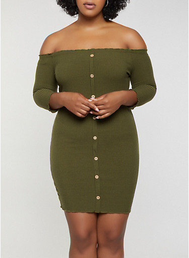 Plus Size Button Detail Off the Shoulder Dress,OLIVE,large
