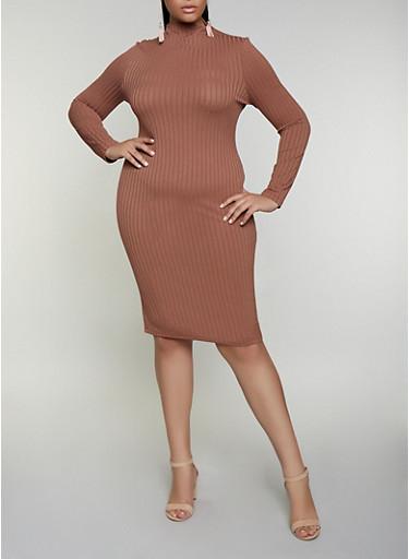 Plus Size Rib Knit Midi Bodycon Dress,BROWN,large