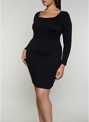 Plus Size Square Neck Bodycon Dress,BLACK,large