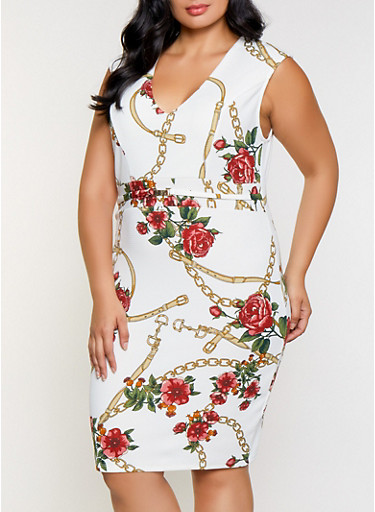 Plus Size Floral Chain Print Bodycon Dress,IVORY,large