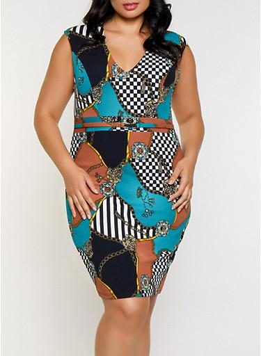 Plus Size Status Print Bodycon Dress,JADE,large