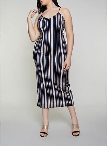 Plus Size Vertical Stripe Maxi Dress,NAVY,large