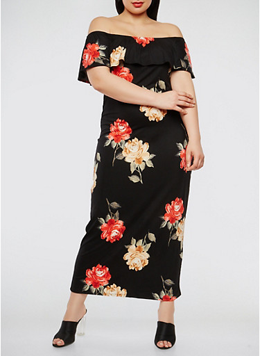 Plus Size Floral Off the Shoulder Maxi Dress | Tuggl