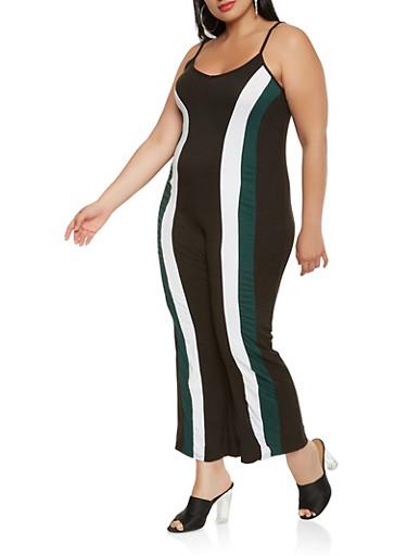 Plus Size Color Block Jumpsuit,HUNTER,large