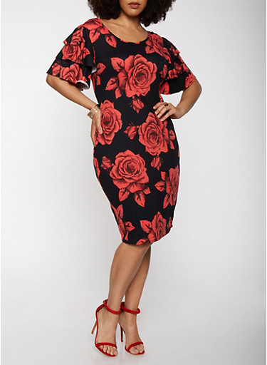 Plus Size Floral Tiered Sleeve Bodycon Dress,BLACK,large