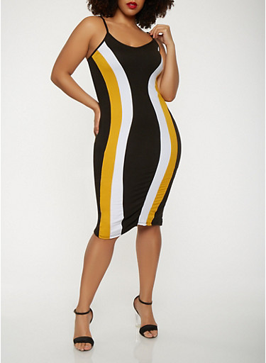 Plus Size Color Block Tank Dress | Tuggl