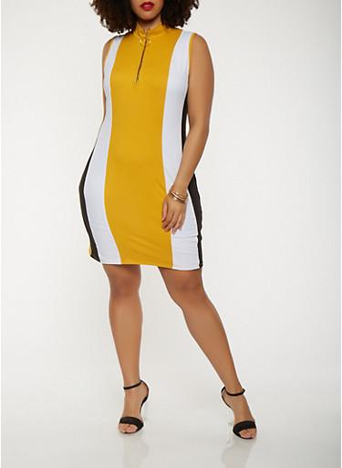 Plus Size Color Blocked Zip Neck Dress,MUSTARD,large