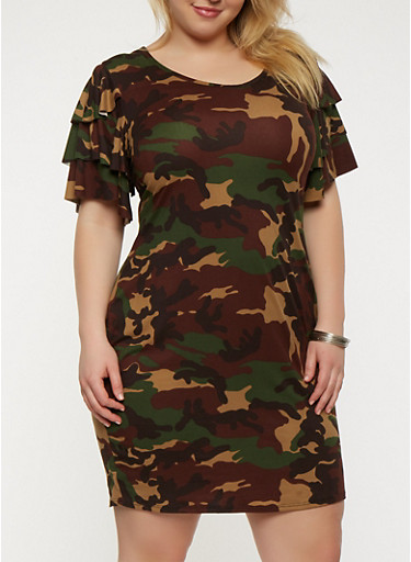 Plus Size Camo Tiered Sleeve T Shirt Dress | Tuggl