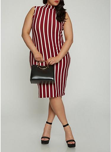 Plus Size Striped Tank Dress,WINE,large