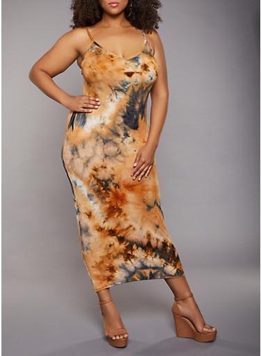 Plus Size Cami Tie Dye Maxi Dress,CAMEL,large