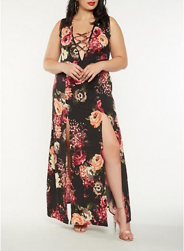 Plus Size Floral Lace Up Maxi Dress,BLACK,large