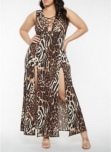 Plus Size Front Slit Leopard Print Maxi Dress,BROWN,large