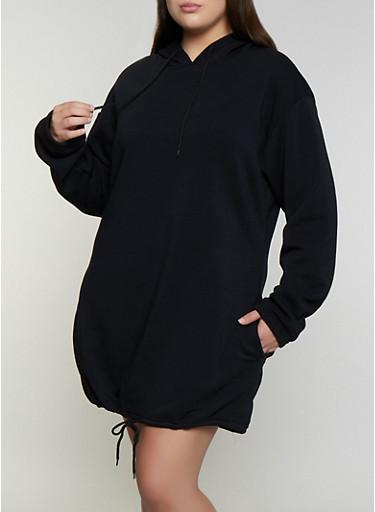 Plus Size Drawstring Hem Sweatshirt Dress,BLACK,large